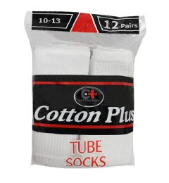 144 Units of Yacht & Smith 28 Inch Men's Long Tube Socks, White Cotton Tube Socks Size 13-16 - Mens Tube Sock