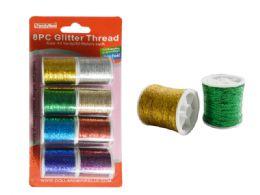 144 Units of 8 Pc Glitter Thread Spools - Beach Toys