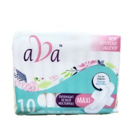 48 Units of 10 Piece Ava Overnight Sanitary Pads - Personal Care Items