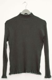 12 Units of Contrast Mock Neck Ribbed Sweater Hunter Green - Womens Sweaters & Cardigan