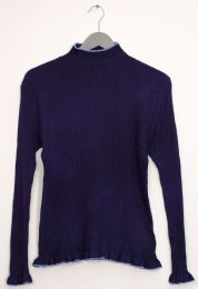 12 Units of Contrast Mock Neck Ribbed Sweater Navy - Womens Sweaters & Cardigan