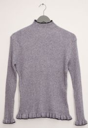 12 Units of Contrast Mock Neck Ribbed Sweater Gray - Womens Sweaters & Cardigan