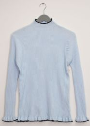 12 Units of Contrast Mock Neck Ribbed Sweater Sky Blue - Womens Sweaters & Cardigan