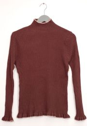 12 Units of Contrast Mock Neck Ribbed Sweater Brown - Womens Sweaters & Cardigan