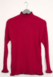 12 Units of Contrast Mock Neck Ribbed Sweater Wine - Womens Sweaters & Cardigan