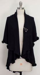 12 Units of Solid Pom Pom Cape Black - Womens Sweaters & Cardigan