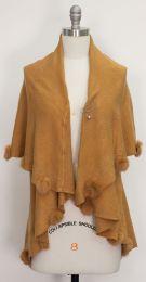 12 Units of Solid Pom Pom Cape Camel - Womens Sweaters & Cardigan