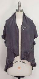12 Units of Solid Pom Pom Cape Gray - Womens Sweaters & Cardigan