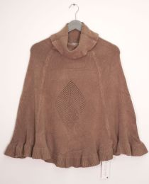 12 Units of Cowl Neck Pullover Poncho Sweater Taupe - Womens Sweaters & Cardigan