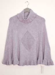 12 Units of Cowl Neck Pullover Poncho Sweater Gray - Womens Sweaters & Cardigan