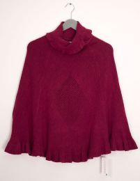 12 Units of Cowl Neck Pullover Poncho Sweater Wine - Womens Sweaters & Cardigan