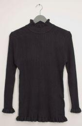 12 Units of Ruffle Neck Ribbed Sweater Black - Womens Sweaters & Cardigan