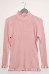 12 Units of Ruffle Neck Ribbed Sweater Pale Pink - Womens Sweaters & Cardigan