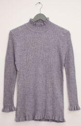 12 Units of Ruffle Neck Ribbed Sweater Gray - Womens Sweaters & Cardigan