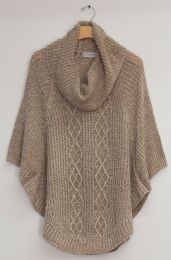 12 Units of Cowl Cable Knit Sweater Taupe - Womens Sweaters & Cardigan