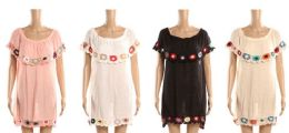 24 Units of Ladies Tribal Design Beach Cover Up With Embroidery - Womens Swimwear