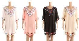 24 Units of Ladies Traibal Design Beach Cover Up With Embroidery - Womens Swimwear