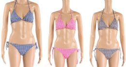 24 Units of Womens 2 Piece Gingham Bathing Suite Assorted Colors - Womens Swimwear