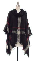 12 Units of Plaid Checker Cowl Neck Poncho Black - Womens Sweaters & Cardigan