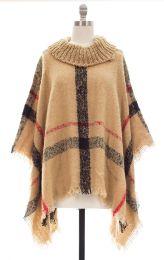 12 Units of Plaid Checker Cowl Neck Poncho Khaki - Womens Sweaters & Cardigan