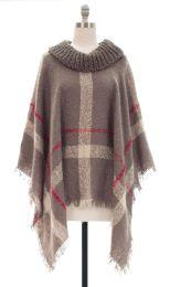 12 Units of Plaid Checker Cowl Neck Poncho Gray - Womens Sweaters & Cardigan