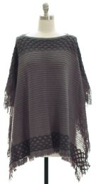 12 Units of Border Detail Pullover Poncho Grey - Womens Sweaters & Cardigan