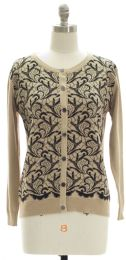 12 Units of Floral Knit Crew Neck Cardigan Taupe - Womens Sweaters & Cardigan
