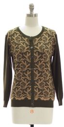 12 Units of Floral Knit Crew Neck Cardigan Olive - Womens Sweaters & Cardigan