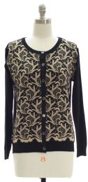 12 Units of Floral Knit Crew Neck Cardigan Black - Womens Sweaters & Cardigan