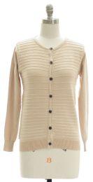 12 Units of Stripe Knit Sweater Cardigan Cream - Womens Sweaters & Cardigan
