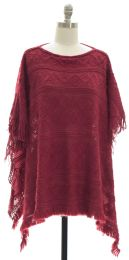 12 Units of Pullover Knit Poncho Plum - Womens Sweaters & Cardigan