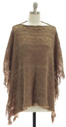 12 Units of Pullover Knit Poncho Taupe - Womens Sweaters & Cardigan