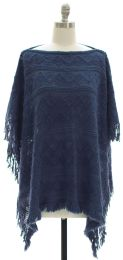 12 Units of Pullover Knit Poncho Blue - Womens Sweaters & Cardigan