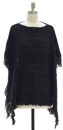 12 Units of Pullover Knit Poncho Black - Womens Sweaters & Cardigan
