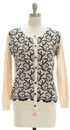 12 Units of Floral Knit Crew Neck Cardigan Ivory - Womens Sweaters & Cardigan