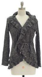 12 Units of Ruffle Marled Cardigan Black - Womens Sweaters & Cardigan