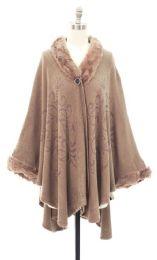 12 Units of Faux Fur Inset Cape Khaki - Womens Sweaters & Cardigan