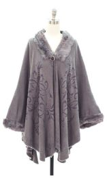 12 Units of Faux Fur Inset Cape Gray - Womens Sweaters & Cardigan