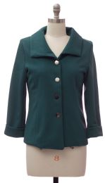 12 Units of Wide Collar Car Blazer Hunter Green - Women's Winter Jackets
