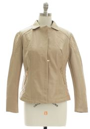 12 Units of Open Lapel Faux Leather Jacket Tan - Women's Winter Jackets