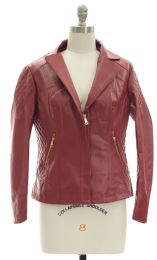 12 Units of Open Lapel Faux Leather Jacket Red - Women's Winter Jackets