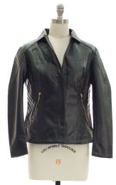 12 Units of Open Lapel Faux Leather Jacket Black - Women's Winter Jackets