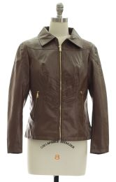 12 Units of Faux Leather Collar Jacket Brown - Women's Winter Jackets