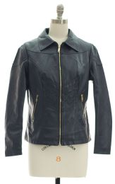 12 Units of Faux Leather Collar Jacket Navy - Women's Winter Jackets