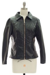 12 Units of Faux Leather Collar Jacket Black - Women's Winter Jackets