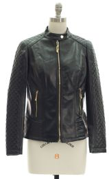 12 Units of Quilted Sleeve Faux Leather Jacket Black - Women's Winter Jackets