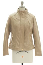 12 Units of Mandarin Collar Faux Leather Jacket Tan - Women's Winter Jackets