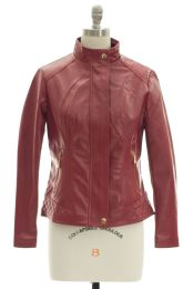 12 Units of Mandarin Collar Faux Leather Jacket Red - Women's Winter Jackets