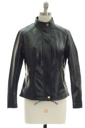 12 Units of Mandarin Collar Faux Leather Jacket Black - Women's Winter Jackets