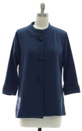 12 Units of Mandarin Collar Textured Coat Midnight Blue - Women's Winter Jackets